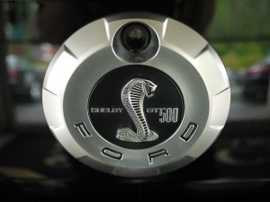 2008 Ford Mustang Shelby GT500 Convertible trunk lock cobra closeup
