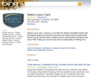 Select Luxury Cars atlanta car dealership review on bing